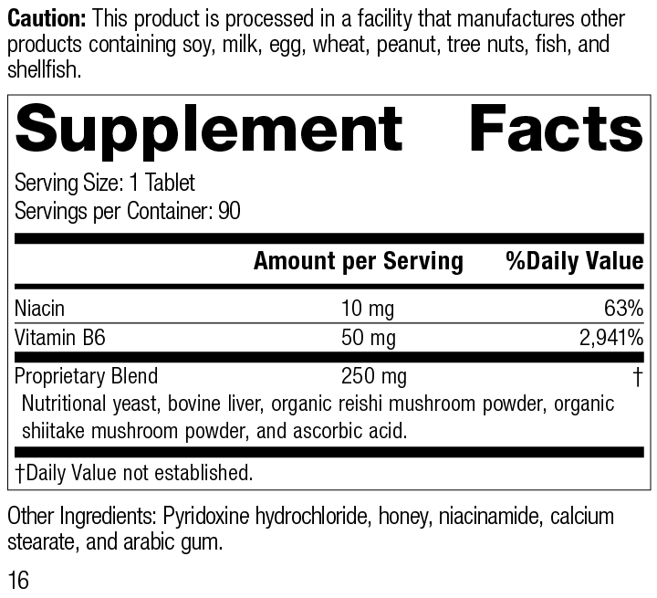 B6-Niacinamide Supplement Facts
