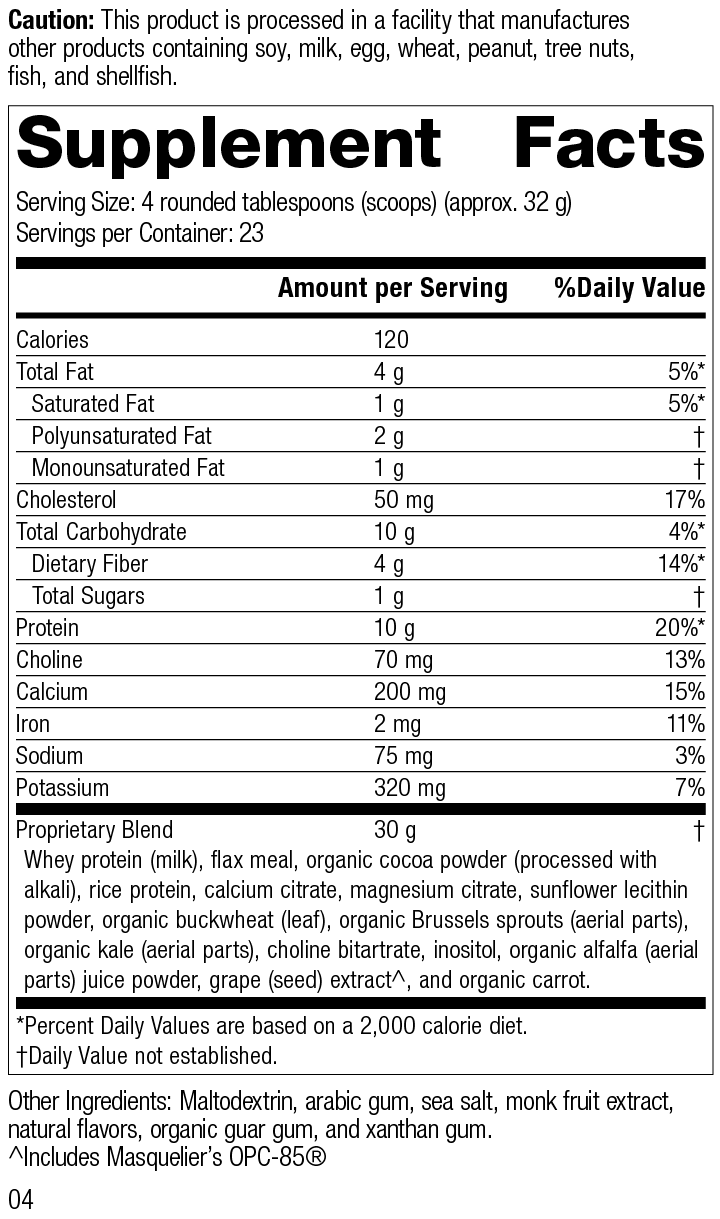 SP Complete® Chocolate Supplement Facts