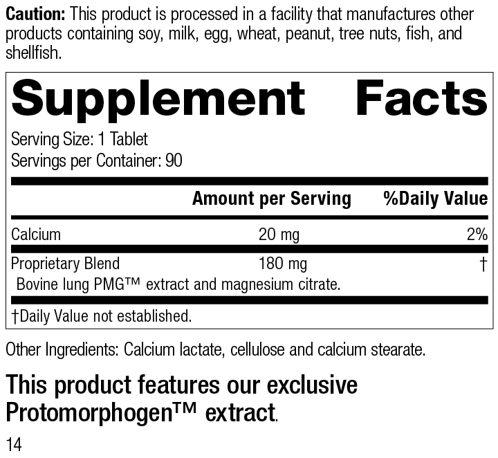 Pneumotrophin PMG® Supplement Facts