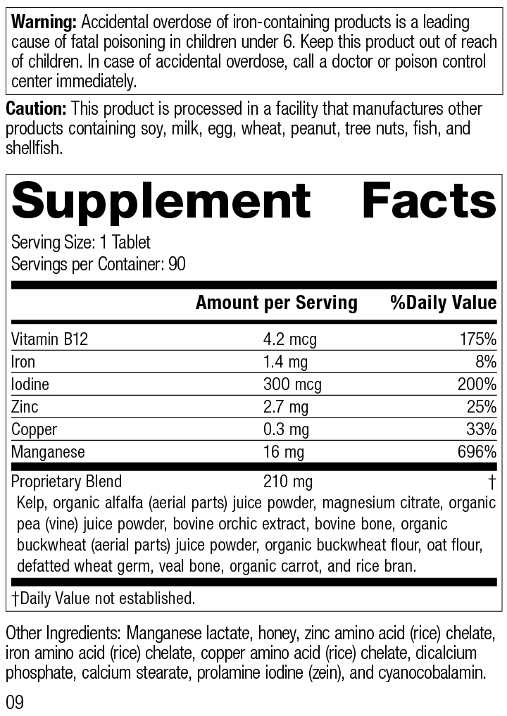 Trace Minerals-B12™ Supplement Facts